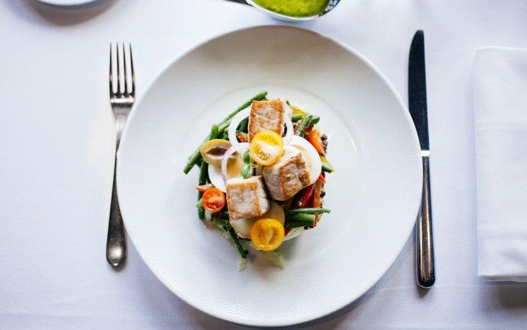 vegetables, meat, plate, serving