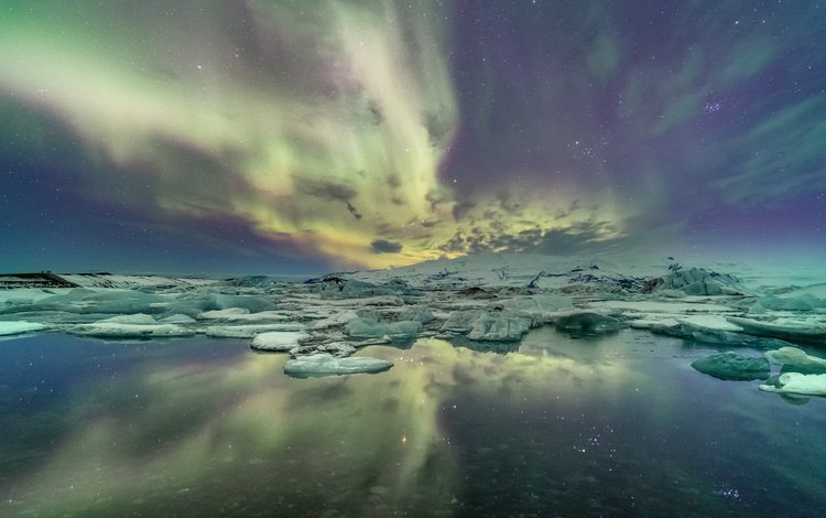 the sky, night, water, reflection, landscape, ice, northern lights, laguna, iceland, glacier, kris williams