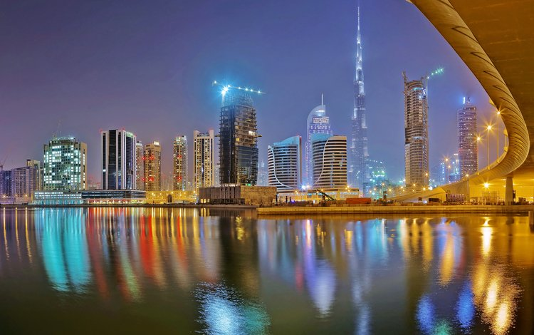 night, panorama, the city, bay, architecture, dubai, uae, john golay