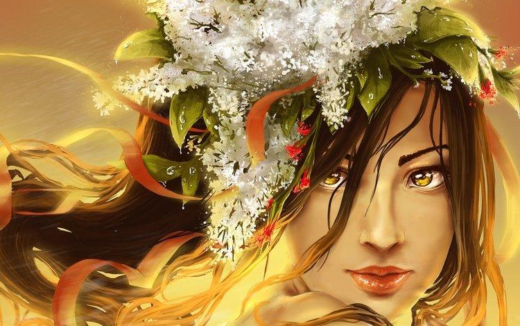 арт, девушка, взгляд, губы, лицо, живопись, желтые глаза, art, girl, look, lips, face, painting, yellow eyes