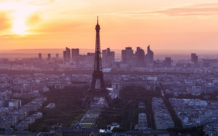 morning, paris, france, eiffel tower