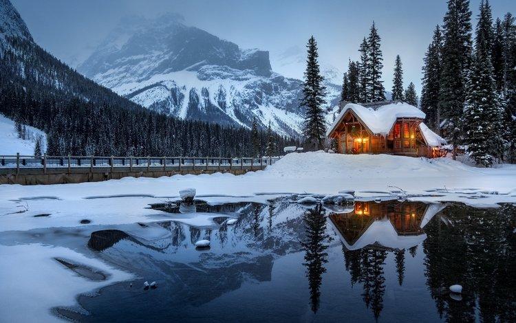 ночь, деревья, огни, озеро, снег, дом, night, trees, lights, lake, snow, house