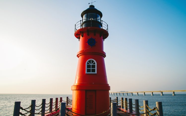 море, маяк, пирс, sea, lighthouse, pierce