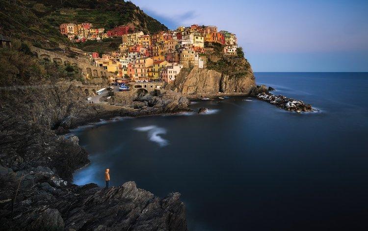 холмы, горизонт, побережье, италия, манарола, hills, horizon, coast, italy, manarola