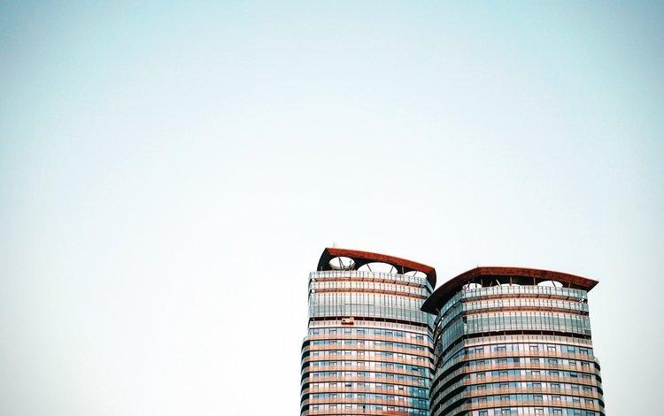 the sky, architecture, the building, glass, skyscraper
