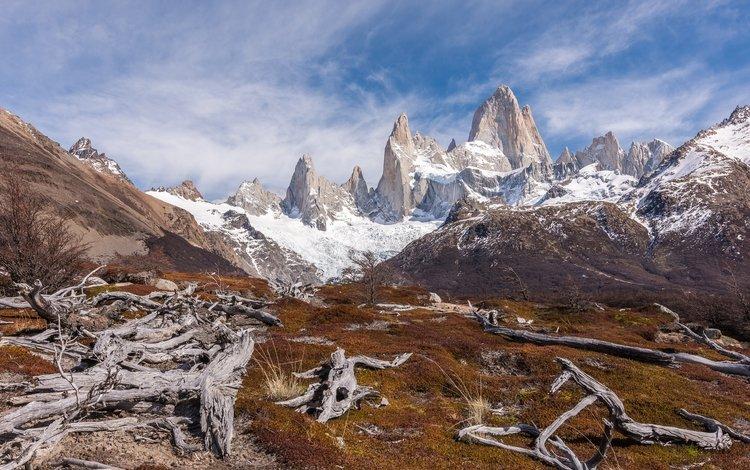 горы, снег, йосемитский национальный парк, monte fitz roy, mountains, snow, yosemite national park