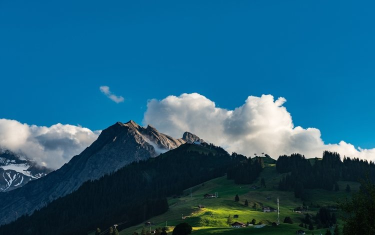 небо, облака, деревья, горы, природа, пейзаж, швейцария, the sky, clouds, trees, mountains, nature, landscape, switzerland