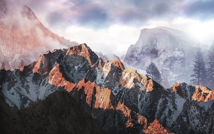 mountains, nature, forest, landscape, sunset, photoshop