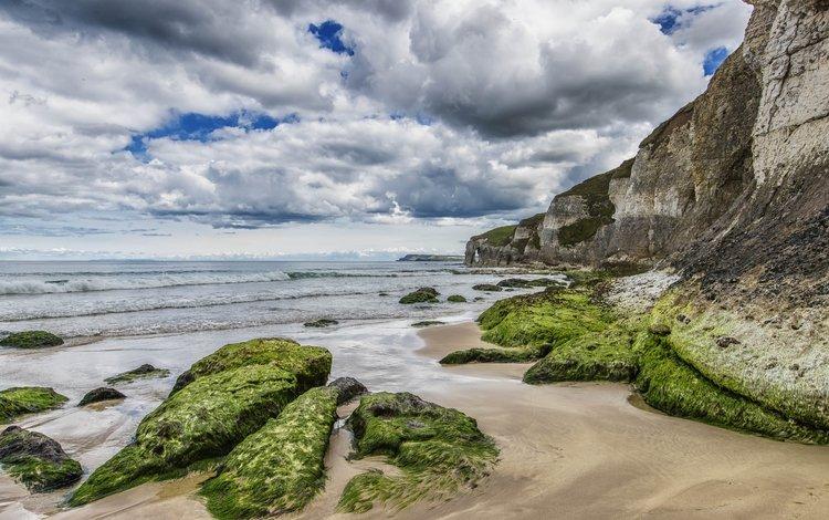небо, холм, облака, скалы, песок, пляж, горизонт, океан, мох, the sky, hill, clouds, rocks, sand, beach, horizon, the ocean, moss
