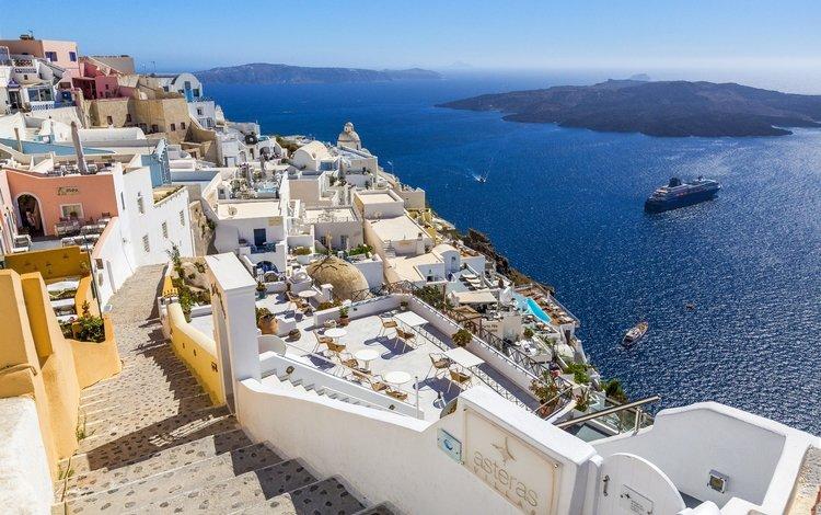 the sun, sea, horizon, ship, coast, bay, home, greece, santorini