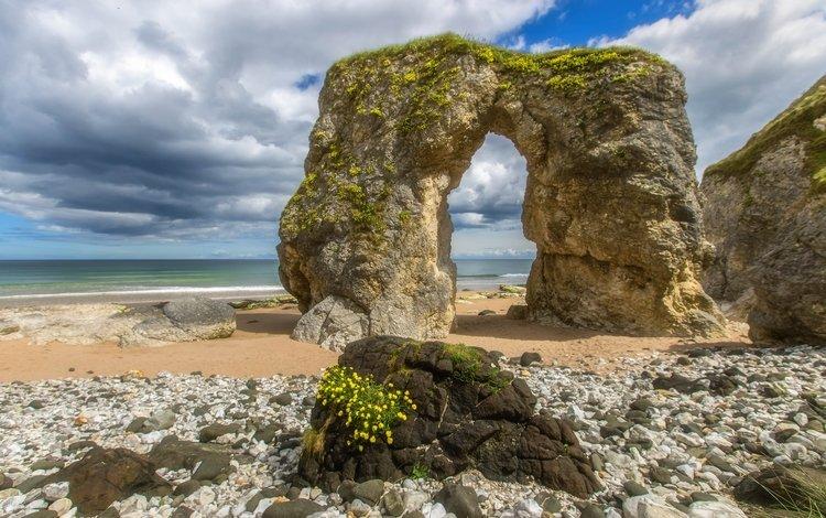 облака, скалы, берег, море, пляж, горизонт, побережье, ирландия, clouds, rocks, shore, sea, beach, horizon, coast, ireland