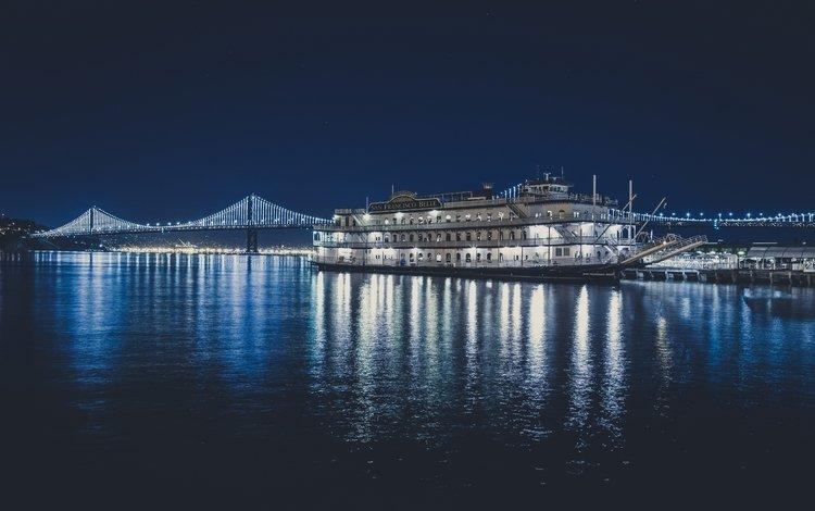 ночь, огни, море, мост, причал, сан-франциско, судно, лайнер, night, lights, sea, bridge, pier, san francisco, the ship, liner