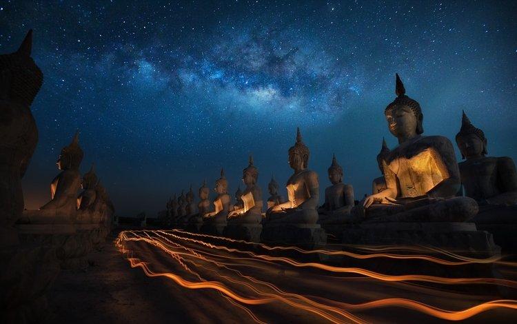 ночь, звезды, будда, статуи, таиланд, млечный путь, буддизм, night, stars, buddha, statues, thailand, the milky way, buddhism