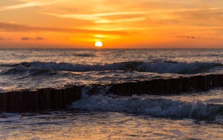 волны, закат, море, прибой, wave, sunset, sea, surf
