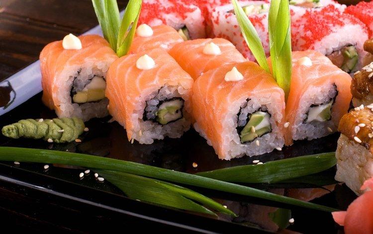 рис, суши, роллы, морепродукты, васаби, японская кухня, лосось, figure, sushi, rolls, seafood, wasabi, japanese cuisine, salmon