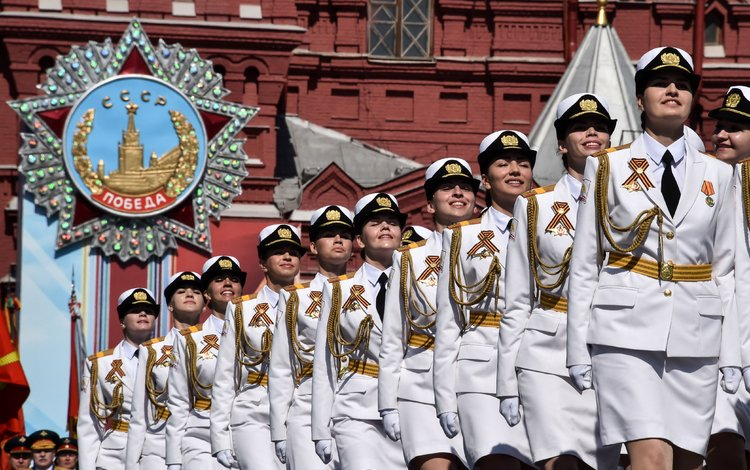 форма, девушки, день победы, в белом, 9 мая, парад, form, girls, victory day, in white, may 9, parade