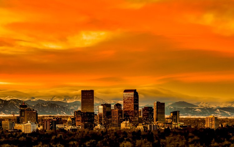 panorama, usa, colorado, skyline, denver