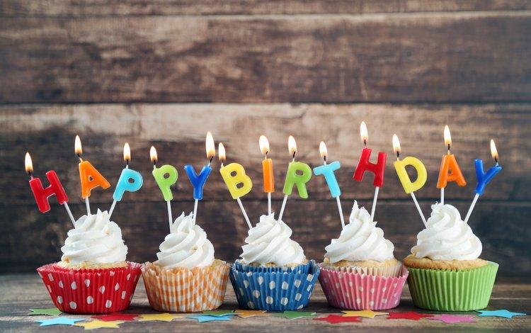 свечи, день рождения, кексы, с днем рождения, candles, birthday, cupcakes, happy birthday
