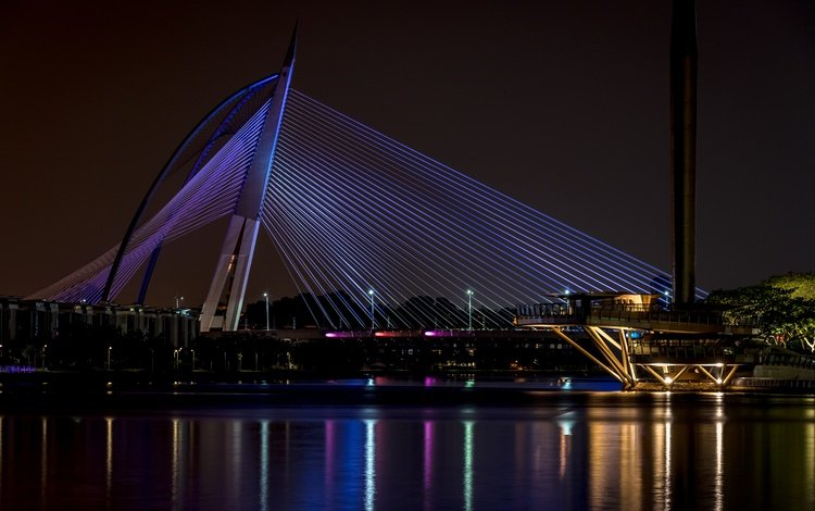 light, night, bridge, the city, malaysia, putrajaya, seri wawasan bridge