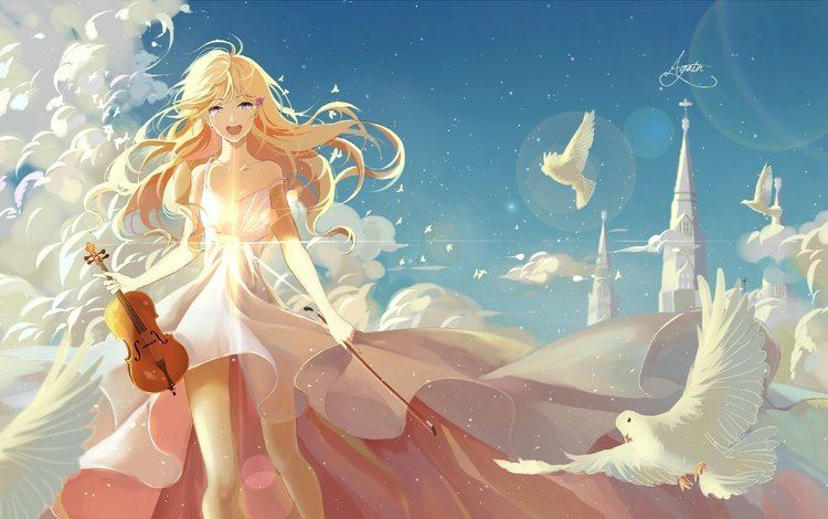 art, girl, anime, pigeons, shigatsu wa kimi no uso, your april lie