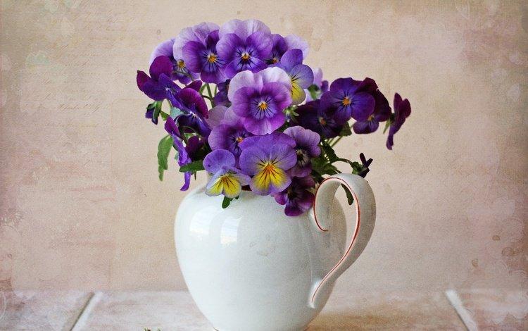 букет, кувшин, анютины глазки, bouquet, pitcher, pansy