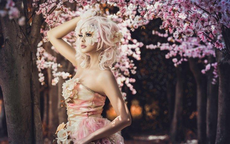цветы, аллея, деревья, стиль, девушка, платье, сакура, макияж, азиатка, flowers, alley, trees, style, girl, dress, sakura, makeup, asian