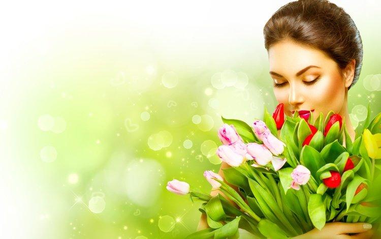цветы, закрытые глаза, девушка, фон, букет, тюльпаны, макияж, шатенка, боке, flowers, closed eyes, girl, background, bouquet, tulips, makeup, brown hair, bokeh