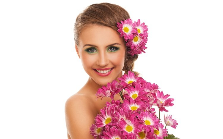 flowers, girl, smile, portrait, look, bouquet, white background, makeup, hairstyle, chrysanthemum, brown hair