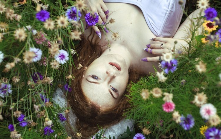 flowers, summer, red, hair, face