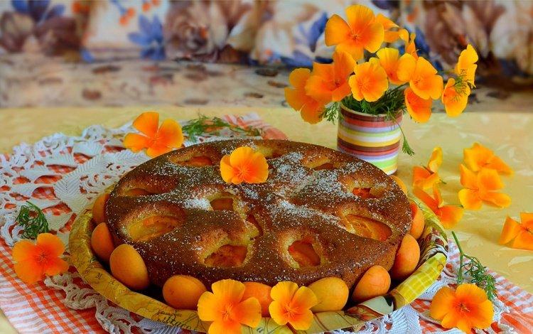 цветы, салфетка, выпечка, пирог, курага, mamamika, flowers, napkin, cakes, pie, dried apricots