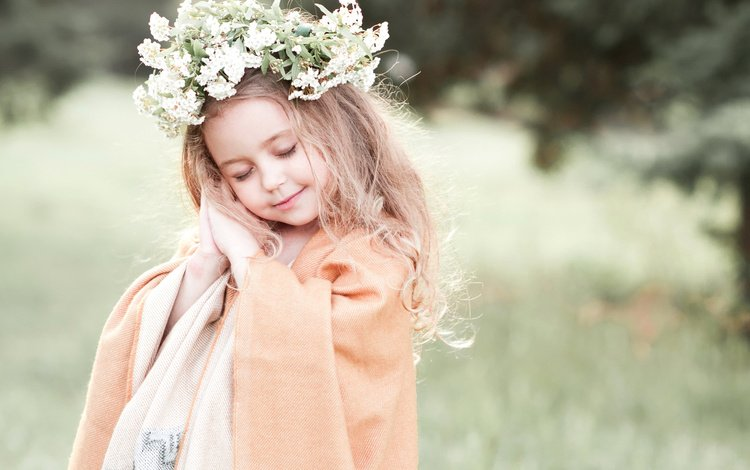 flowers, nature, plants, children, girl, fabric, child, wreath, cape, closed eyes