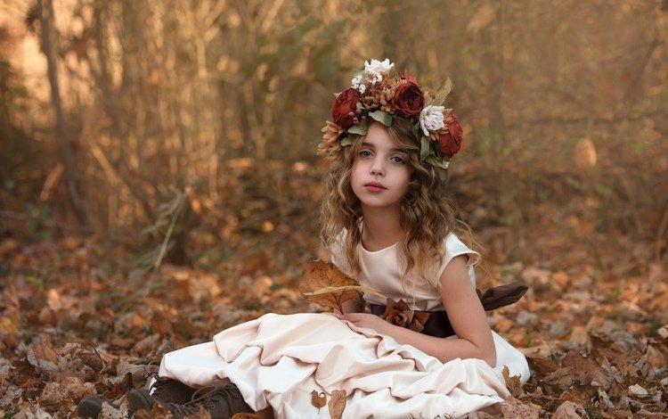 цветы, природа, платье, осень, девочка, венок, ботинки, flowers, nature, dress, autumn, girl, wreath, shoes