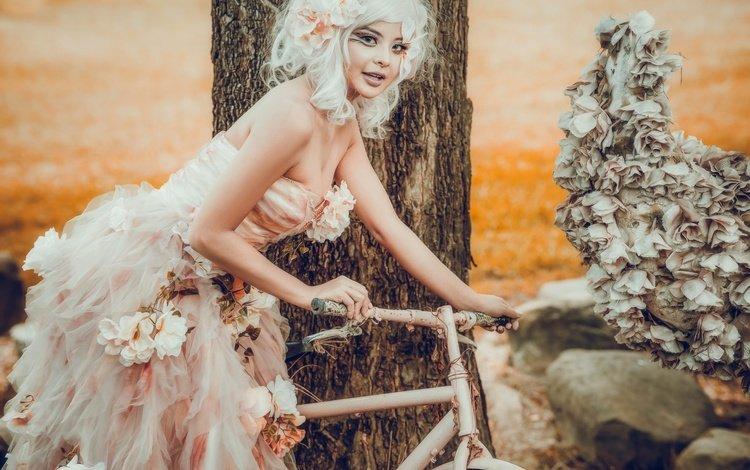 цветы, стиль, девушка, платье, макияж, азиатка, велосипед, flowers, style, girl, dress, makeup, asian, bike