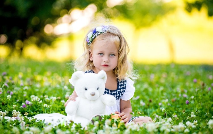 flowers, greens, summer, bear, girl, toy, child, baby