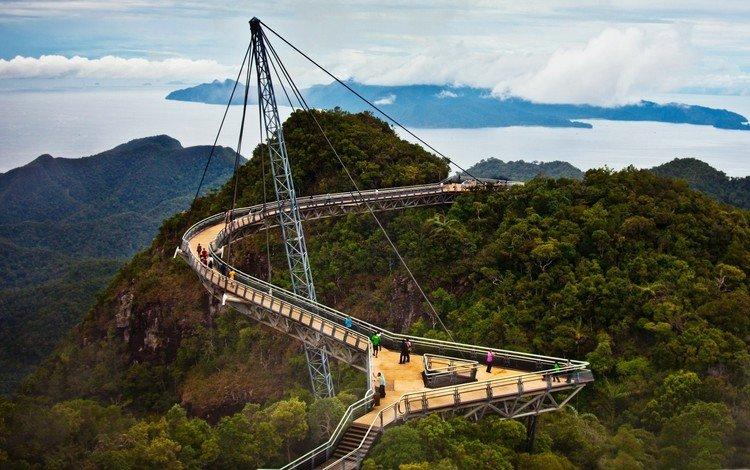деревья, пейзаж, мост, малайзия, небесный, лангкави, мост лангкави, пулау, trees, landscape, bridge, malaysia, heavenly, langkawi, bridge langkawi, pulau