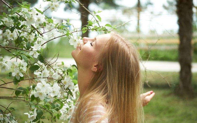 tree, summer, hair, face, masha