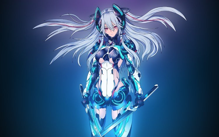 girl, background, sword, anime, long hair, red eyes, mecha girls, chronicles xenoblade