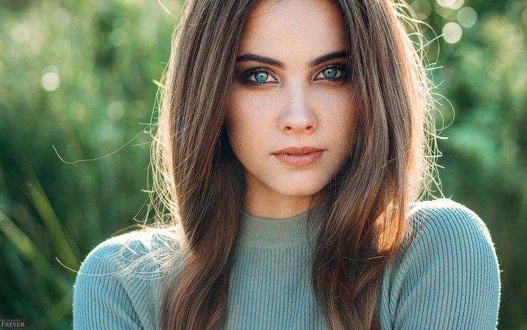 girl, brunette, look, hair, face, bokeh, evgeny freyer