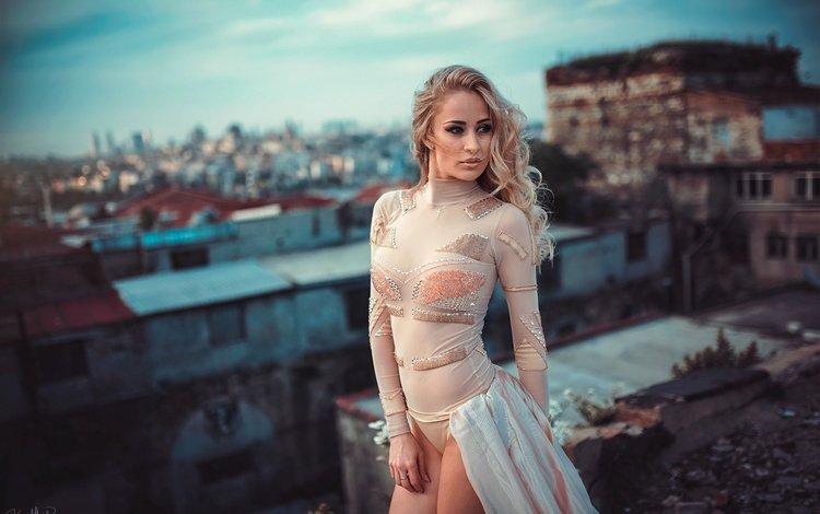 девушка, город, взгляд, модель, боке, бисер, водолазка, kaan altindal, girl, the city, look, model, bokeh, beads, turtleneck