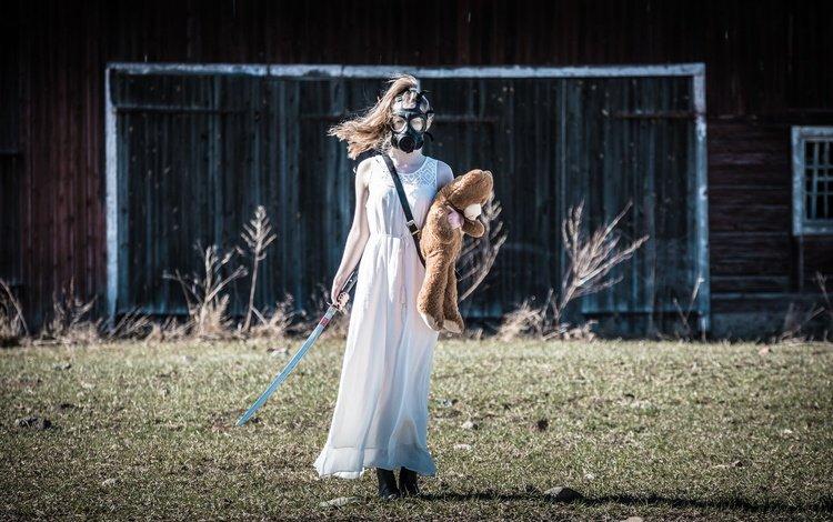 girl, sword, bear, gas mask, apocalypse
