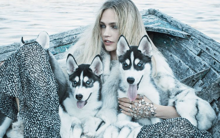 girl, blonde, model, husky, puppies, vogue, sasha pivovarova