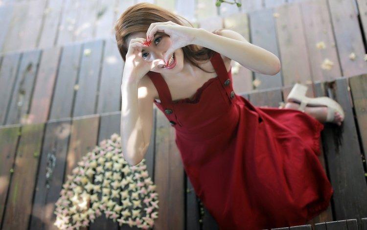 girl, mood, smile, heart, asian, red dress