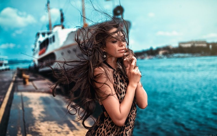 girl, mood, sea, ship, pier, model, hair, the wind, closed eyes