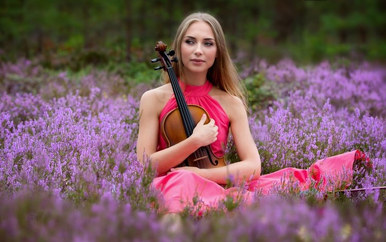 flowers, girl, mood, dress, violin, heather