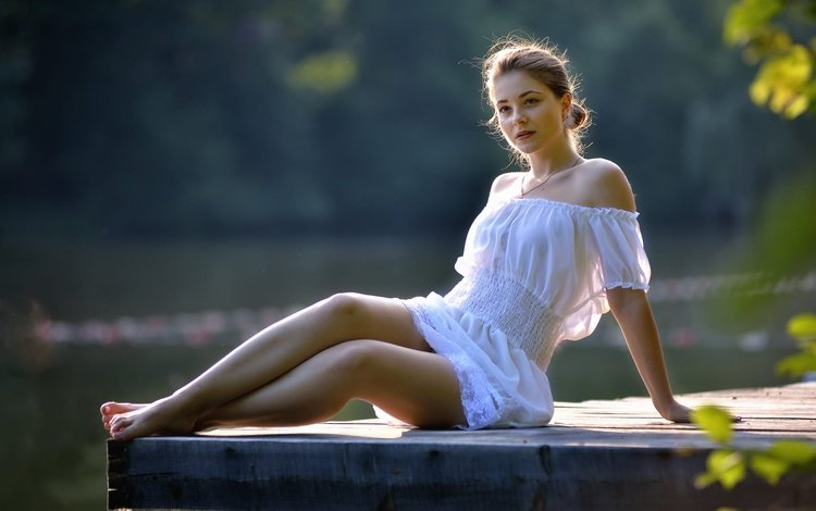 girl, dress, look, legs, hair, face, dana, barefoot, ivan borys