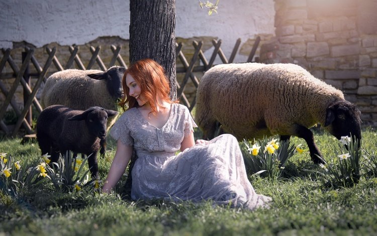 girl, mood, smile, red, sheep