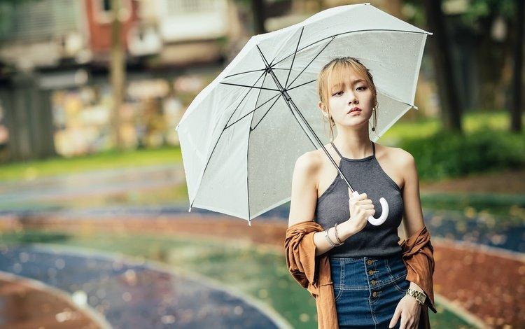 девушка, портрет, взгляд, волосы, зонт, лицо, азиатка, girl, portrait, look, hair, umbrella, face, asian