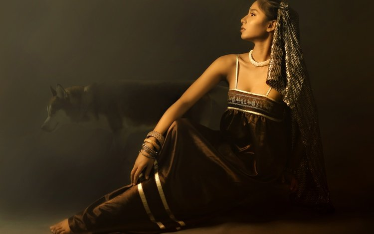girl, pose, dog, the dark background, face, asian, bracelets
