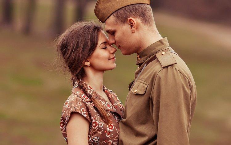 девушка, влюбленные, ретро, гимнастерка, парень, день победы, солдат, 9 мая, встреча, пилотка, girl, lovers, retro, tunic, guy, victory day, soldiers, may 9, meeting, pussy