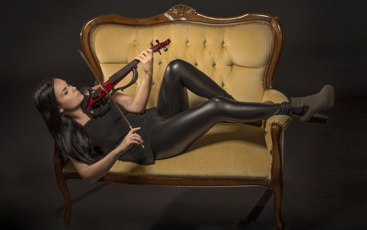 girl, violin, music, model, legs, sofa